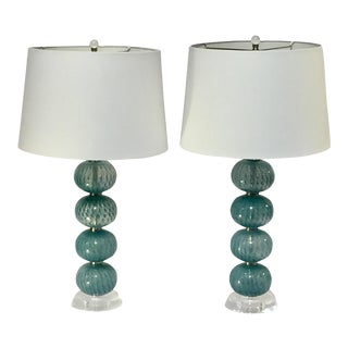 Aqua Blue Glass Orb Lamps - A Pair