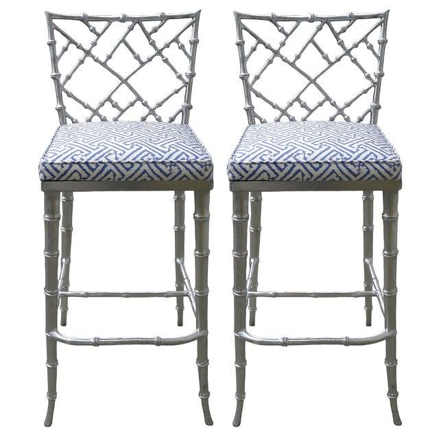 Phyllis Morris Silver Bamboo Barstools - Pair - Image 1 of 8