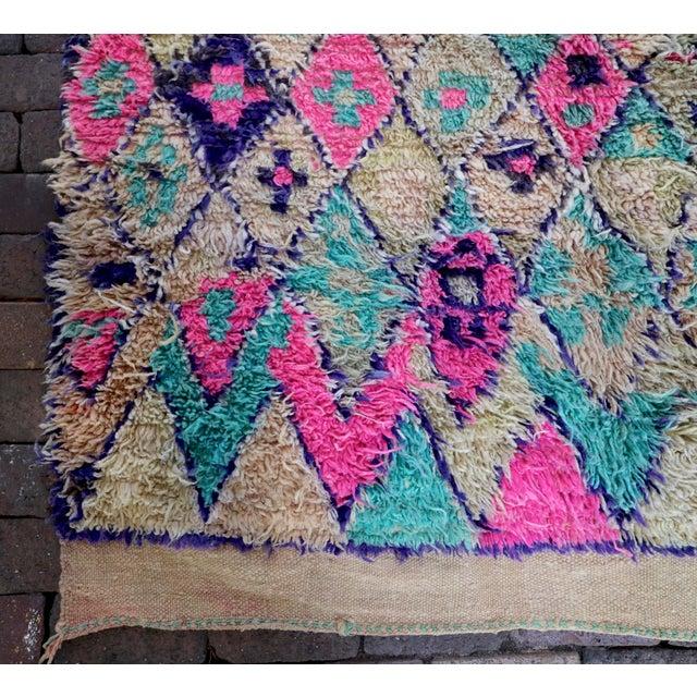 Vintage Moroccan Teal & Purple Talsint Rug - 6′5″ × 11′11″ - Image 4 of 7