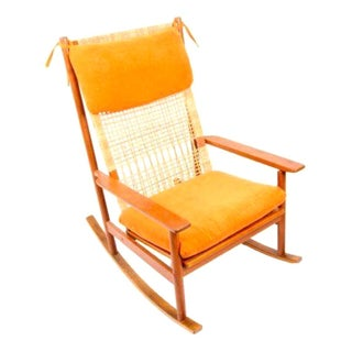Hans Olsen Teak Rocking Chair with New Upholstery