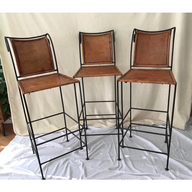 Scrolled Iron & Leather Bar Stools - Set of 3 - Image 11 of 11