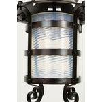 Image of Iron Gas Lantern With Blue Swirled Glass