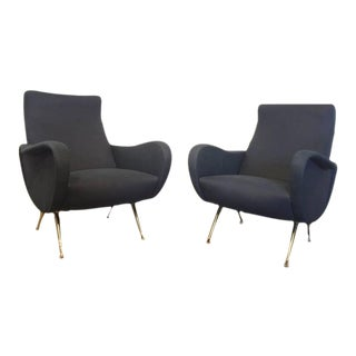 Zanuso Style Pair of Italian Armchairs in Midnight Blue Suede