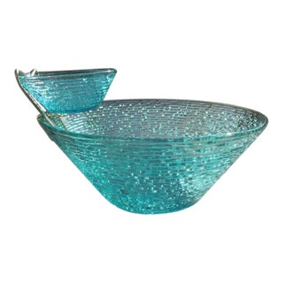 Vintage Turquoise Anchor Hocking Chip and Dip Bowl
