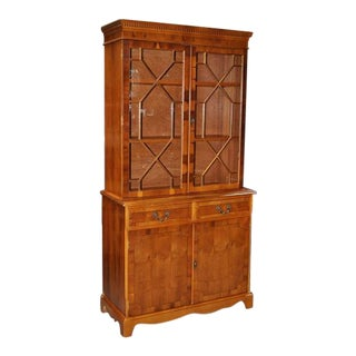 1970s Vintage Yew Wood Bookcase Cabinet