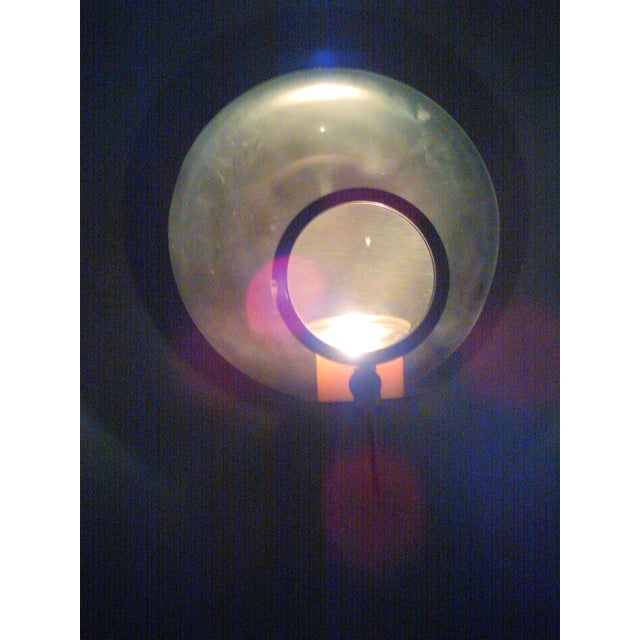 Vintage Candle Wick Sconce with Magnifying Glass - Image 6 of 8