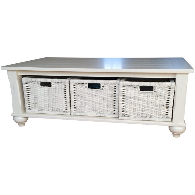 Antique Traditional White Coffee Table - Image 1 of 8