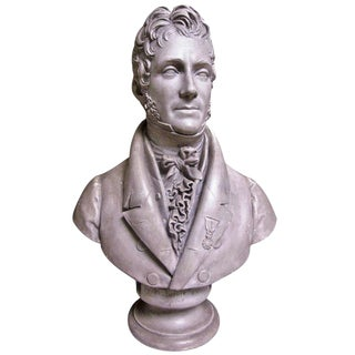 A French Painted Plaster Bust of Pierre Balguerie