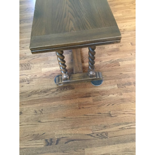 Ethan Allen Jacobean Barley Twist Expanding Banquet Dining Room Trestle Table - Image 4 of 9