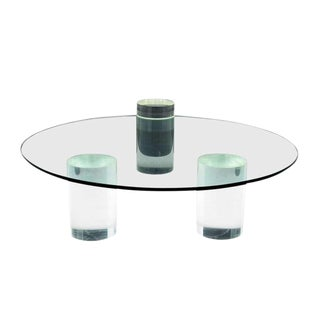 Lucite Column Coffee Table