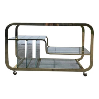 Milo Baughman Brass Console Table or Bar Cart