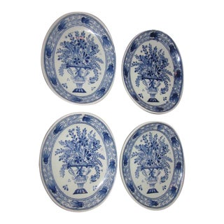 Rare 1834 Holland Delft Blue Petrus Regout Royal Shinx Maastricht Floral Basket/Urn Oval Butter Pat Plate S