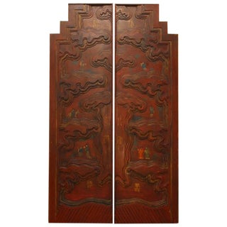 Chinese Carved Temple Courtyard Door Panels - A Pair