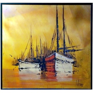 Mid-Century Sunset Sailboat Oil Painting