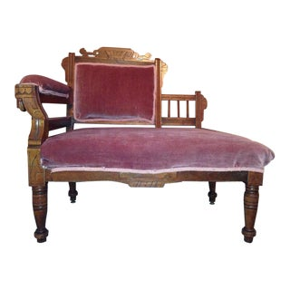 Victorian Carved Walnut Velvet Upholstered Settee