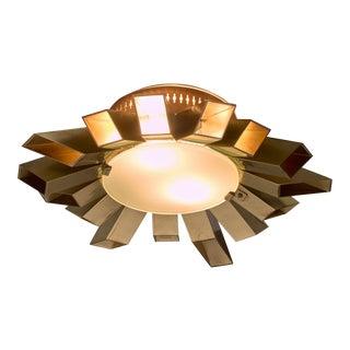 Swedish Brass Flush Mount Sunburst Lamp, 1960s