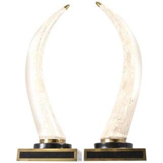 Maitland-Smith Marble Tusks - A Pair