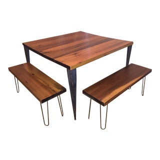 Custom Handmade Wooden Table & Benches