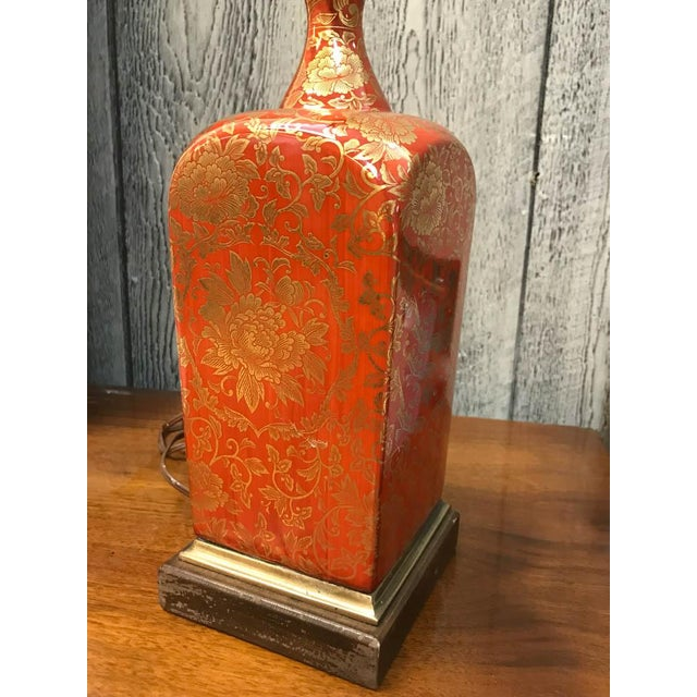 Vintage Orange and Gilt Floral Lamp - Image 2 of 5