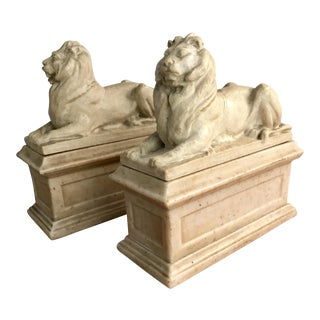 Mid Century Stone Lion Bookends