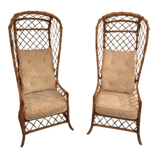 Mid-Century Rattan Canopy Chairs - a Pair