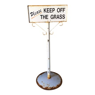 "Vintage ""Please Keep Off the Grass"" Sign with Base"