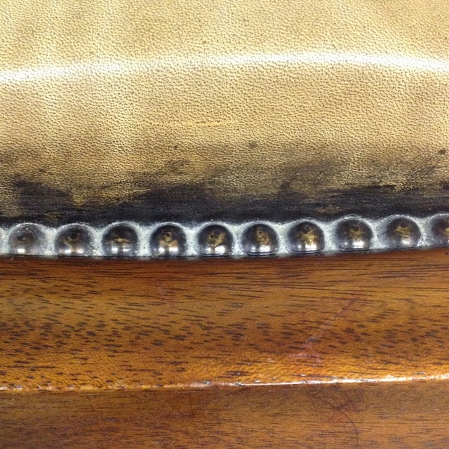 Antiqued Tufted Leather Ottoman - Image 6 of 9