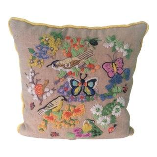 Vintage Preppy Crewel Linen Pillow