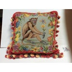 Image of Traditional Needle Point Monkey Pillow