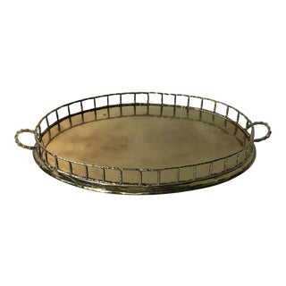 Faux Bamboo Brass Tray With Gallery Sides