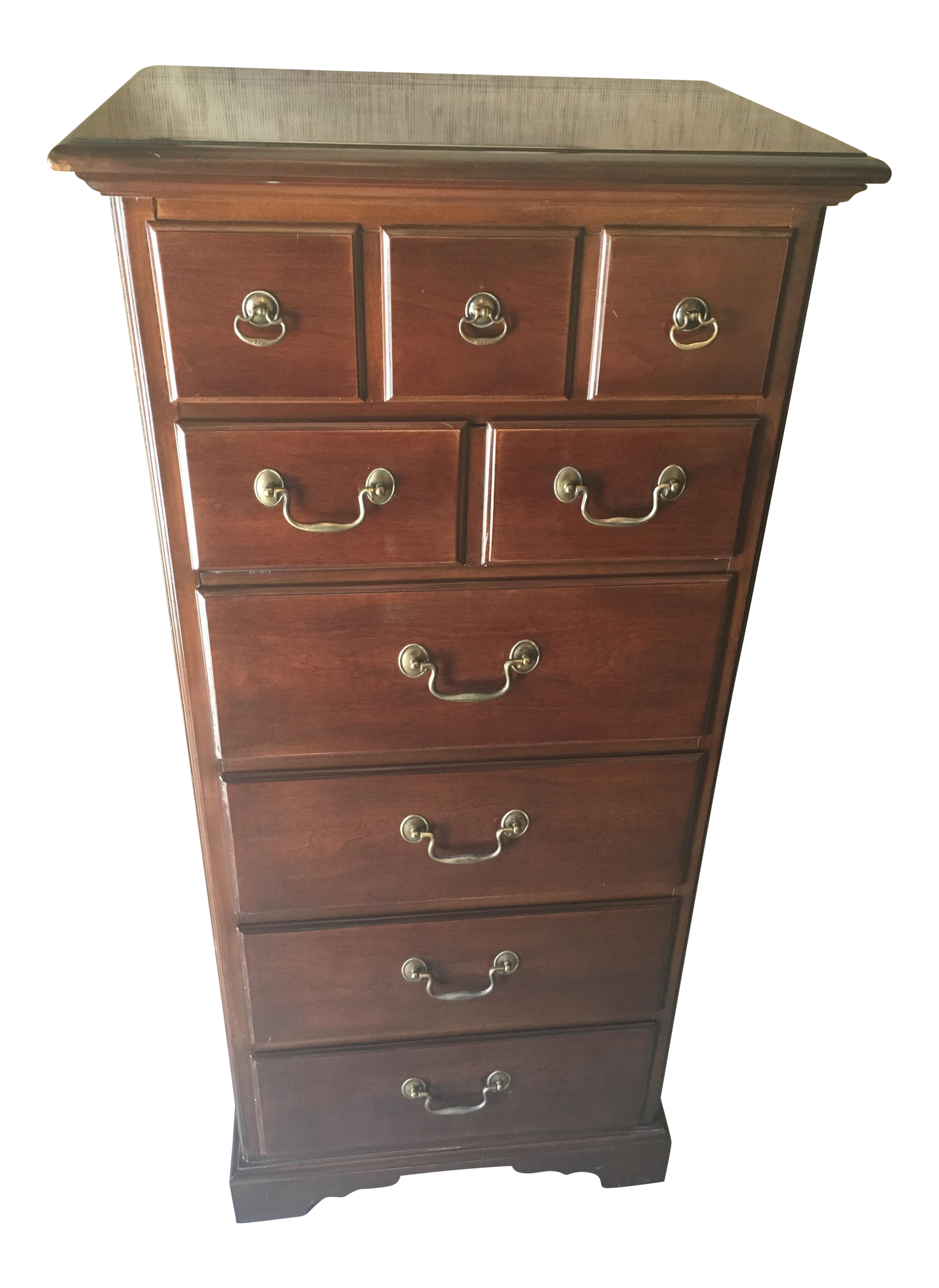drexel carleton cherry wood 5drawer lingerie chest