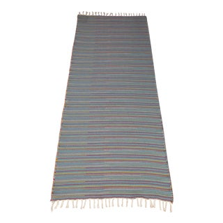 "Flat Weave Wool Striped Blue Kilim Rug - 2'8"" x 7'6"""