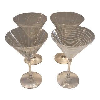 Vintage Etched Crystal Martini Glasses - Set of 4