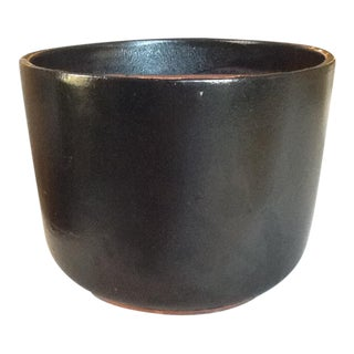 Glazed Black Pottery Planter - Medium Size