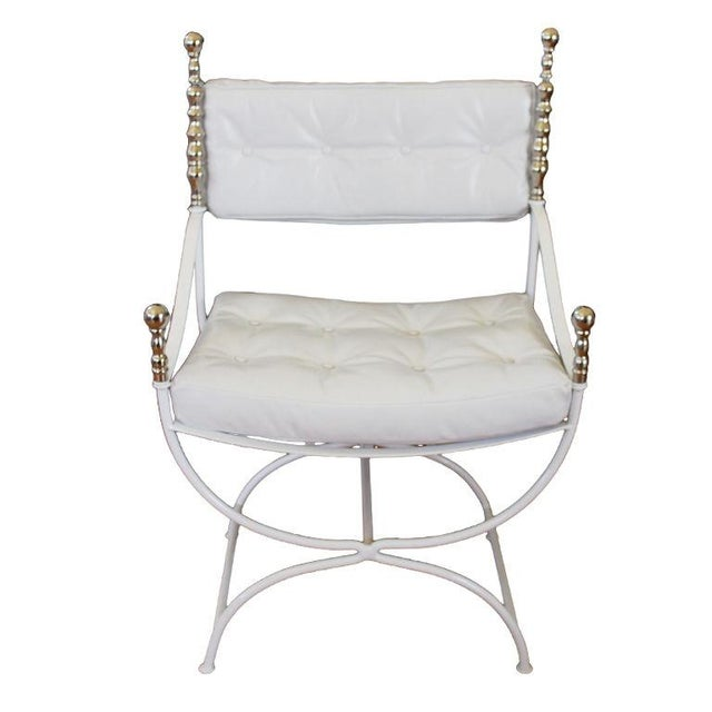 Throne Chair With White Leather - Replated - Image 1 of 4