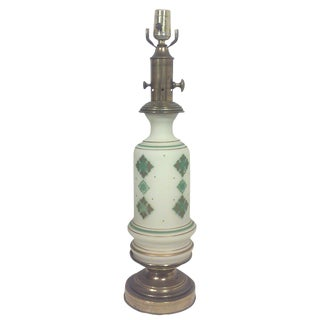 Green, Gold & White Glass Table Lamp