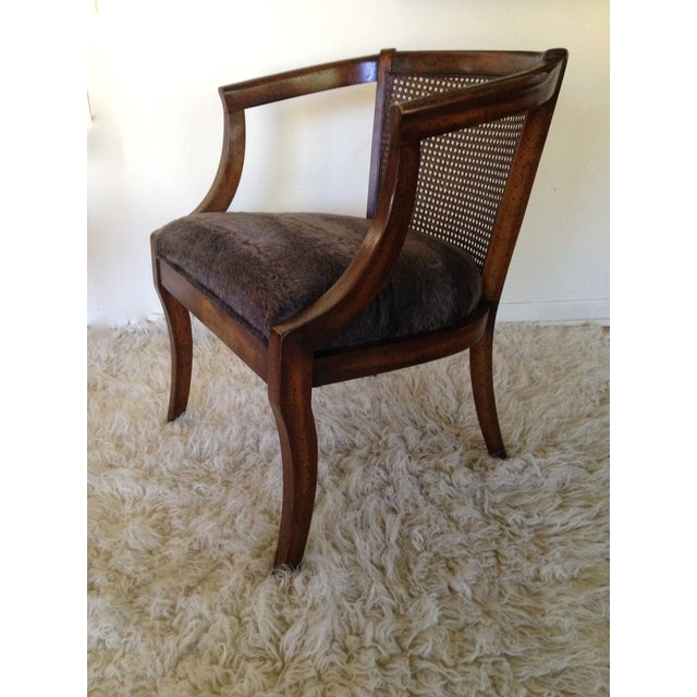 Vintage Cane Back & Faux Fur Seat Chairs - A Pair - Image 3 of 7