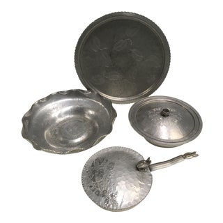 Hammered Aluminum Serving Set - Set of 4