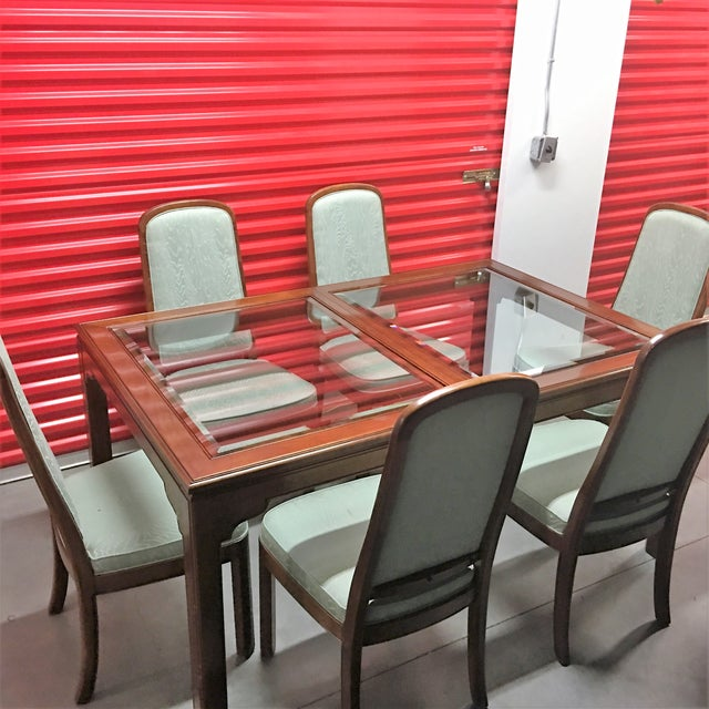 Image of Vintage Ethan Allen Dining Set W/ 6 Chairs, 2 Leaf