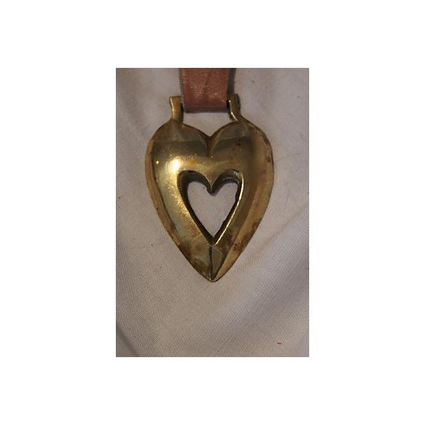 Image of Antique English Horse Brass Heart Ornament