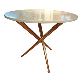 Italian Gio Ponti Inspired Brass and Marble Table