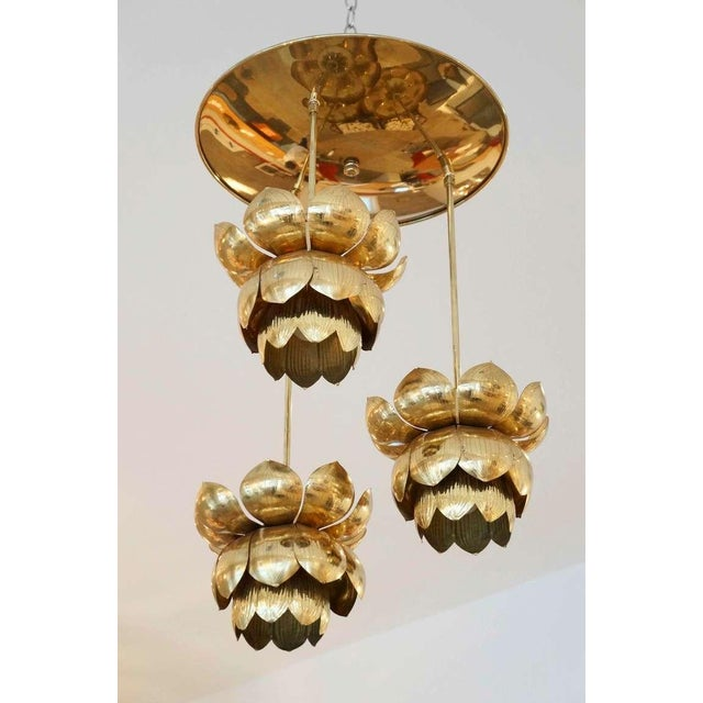 Triple Light Brass Lotus Pendant - Image 2 of 8