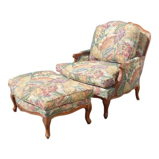 Vintage French Provincial Framed Tropical Leaf Pattern Armchair & Ottoman - A Pair