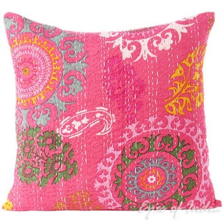 Pink Hand Block Kantha Throw Pillow