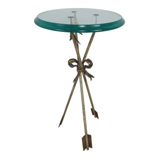 Round Arrow Tripod Base Table w/ Beveled Glass