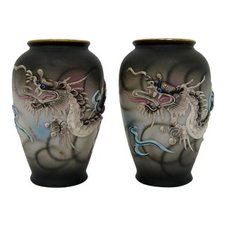 Japanese Moriage Petit Vases - a Pair
