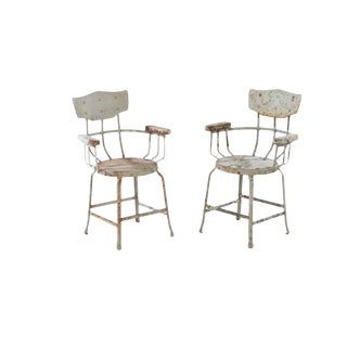Rustic Industrial European Iron Bistro Chairs - A Pair