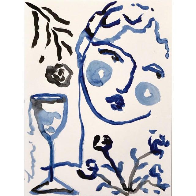 Black & Blue 'Flowers & Wine' Painting - Image 2 of 4