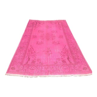 Turkish Pink Overdyed Hand Knotted Rug