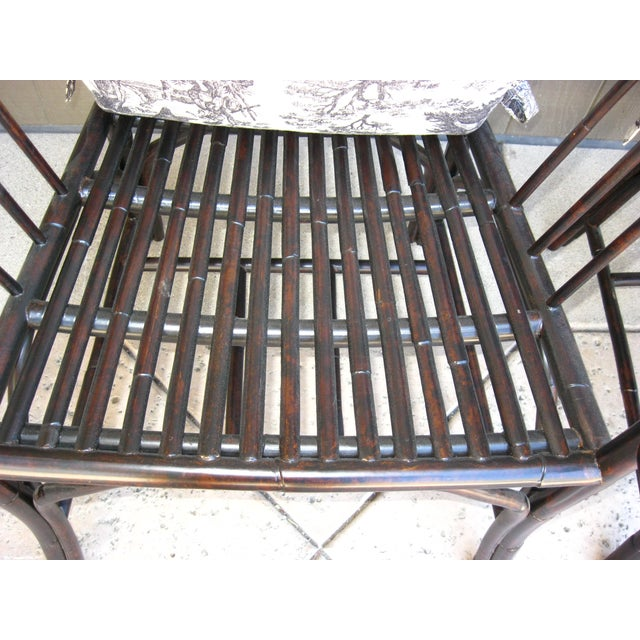 Black French Country Style Bamboo Chairs - Pair - Image 9 of 11